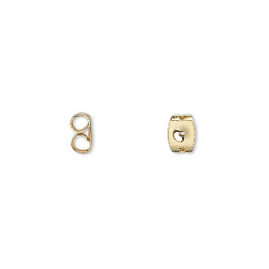 earnut, gold-plated stainless steel, 6x5mm. sold per pkg of 50 pairs.