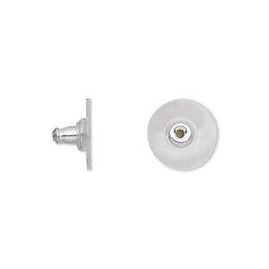 earnut, plastic and imitation rhodium-plated aluminum, 12x7mm comfort clutch. sold per pkg of 50 pairs.