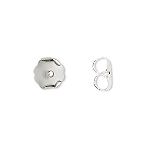 earnut, silver-plated brass, 10x9mm monster. sold per pkg of 50 pairs.