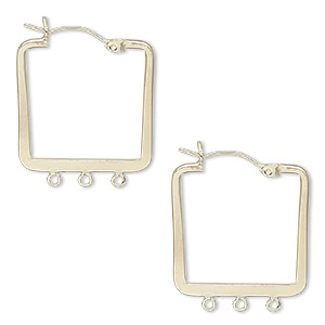 earring, 14kt gold-filled, 23x23mm flat square hoop with 3 closed loops and latch-back closure. sold per pair.