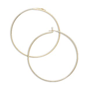 earring, 14kt gold-filled, 25mm round hoop. sold per pkg of 5 pairs.