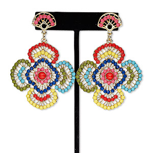 earring, acrylic rhinestone / steel / antique gold-finished pewter (zinc-based alloy), multicolored, 3 inches with flower and post. sold per pair.