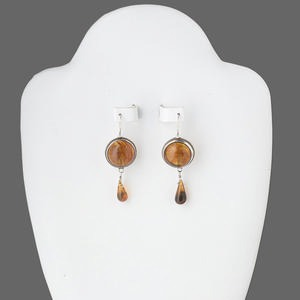 earring, amber and sterling silver, 48x17mm dangle with leverback earwire. sold per pair.