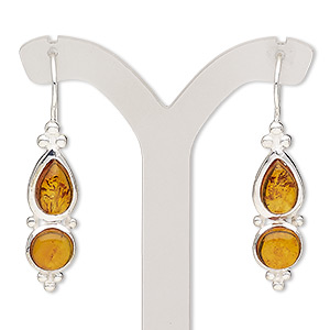 earring, amber (natural) and sterling silver, 40mm with fishhook earwire and safety. sold per pair.