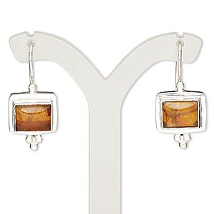 earring, amber (reconstituted) and sterling silver, 27mm with square and fishhook earwire with safety. sold per pair.