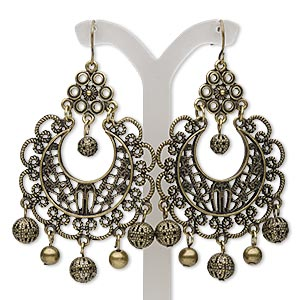 earring, antique brass-finished steel and pewter (zinc-based alloy), 2-3/4 inches with filigree round and fishhook earwire. sold per pair.