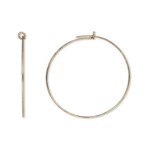 earring, antique gold-plated brass, 25mm round hoop. sold per pkg of 25 pairs.