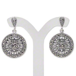 earring, antiqued sterling silver and signity marcasite (natural), 31x19mm with 19mm flat round with flower design, earnuts included. sold per pair.