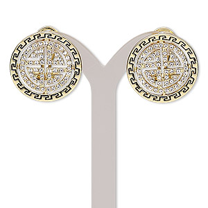 earring, austrian crystal / enamel / stainless steel / gold-finished brass / pewter (zinc-based alloy), black and clear, 22mm round with greek key and cutout design with post and latch-back closure. sold per pair.
