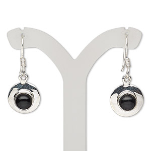 earring, black onyx (dyed) and sterling silver, 28mm with round and fishhook earwire, 21 gauge. sold per pair.