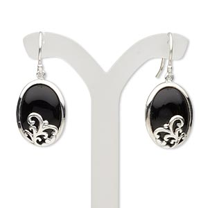 earring, black onyx (dyed) and sterling silver, 34mm with 18x13mm oval and fishhook earwire. sold per pair.