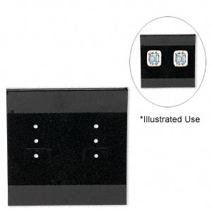 earring card, flocked plastic, black, 2x2-inch square. sold per pkg of 100.