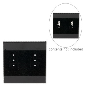 earring card, flocked plastic, black, 2x2-inch square. sold per pkg of 25.