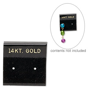 earring card. flocked plastic, black and gold, 1x1-inch square with 14kt. gold. sold per pkg of 25.
