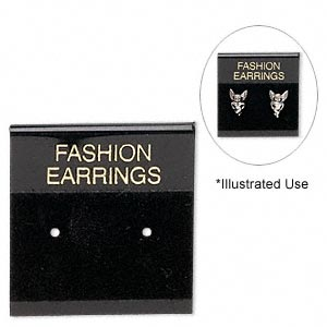 earring card, flocked plastic, black and gold, 1x1-inch square with fashion earrings. sold per pkg of 100.
