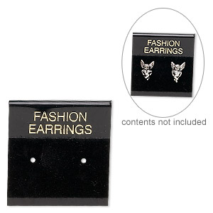 earring card, flocked plastic, black and gold, 1x1-inch square with fashion earrings. sold per pkg of 25.