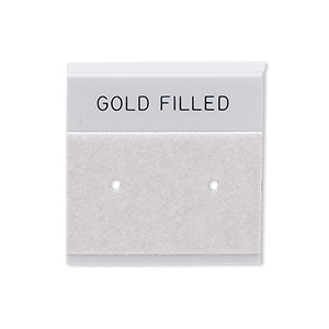 earring card, flocked plastic, grey and black, 1x1-inch square with gold filled. sold per pkg of 100.
