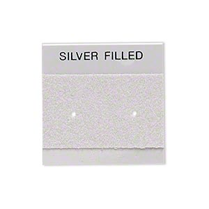 earring card, flocked plastic, grey and silver, 1x1-inch square with silver filled. sold per pkg of 100.