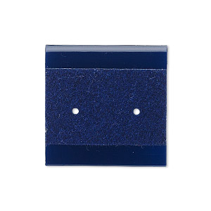 earring card, plastic and velour, royal blue, 1x1-inch square. sold per pkg of 100.