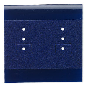 earring card, plastic and velour, royal blue, 2x2-inch square. sold per pkg of 25.