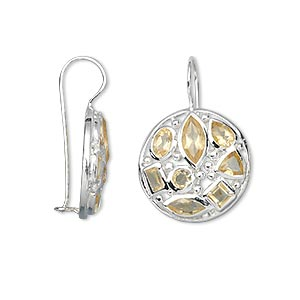 earring, citrine (heated) and sterling silver, 34mm with round and fishhook earwire with safety. sold per pair.