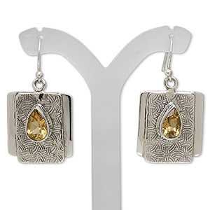 earring, citrine (heated) and sterling silver, 40mm with textured curved rectangle and fishhook earwire, 21 gauge. sold per pair.