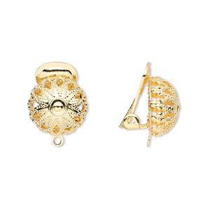 earring, clip-on, gold-plated brass, 15x12mm with filigree half ball and closed loop. sold per pkg of 5 pairs.