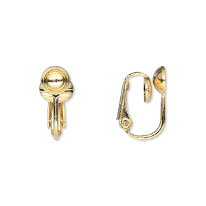 earring, clip-on, gold-plated steel, 16mm hinged with 6mm grooved cup, fits 6mm bead. sold per pkg of 50 pairs.