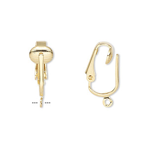 earring, clip-on, gold-plated steel, 16mm hinged with open loop. sold per pkg of 5 pairs.
