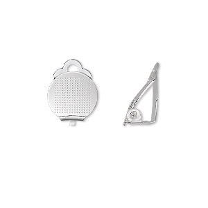 earring, clip-on, silver-plated brass, 11mm hinged with 11mm round flat pad. sold per pkg of 50 pairs.