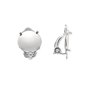 earring, clip-on, silver-plated brass and steel, 13mm round flat pad with 12mm 4-prong round setting and closed loop. sold per pkg of 10 pairs.