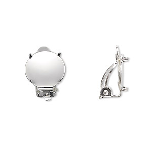 earring, clip-on, silver-plated brass and steel, 13mm round flat pad with 12mm 4-prong round setting. sold per pkg of 5 pairs.