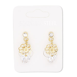earring, cubic zirconia / glass rhinestone / gold-finished stainless steel, clear, 24mm with open flower and post. sold per pair.