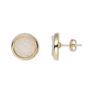 earring, druzy agate (coated) / electroplated gold / 24kt gold-plated brass, pearl, 13mm round with post. sold per pair.
