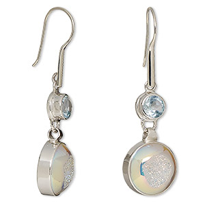 earring, druzy agate (coated) / sky blue topaz (irradiated) / sterling silver, ab, 2 inches with 14mm round and 6mm faceted round with fishhook earwire. sold per pair.