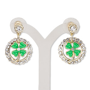 earring, enamel / glass rhinestone / stainless steel / gold-finished pewter (zinc-based alloy), green and clear, 28mm with round and shamrock with post. sold per pair.