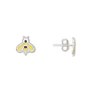 earring, enamel and sterling silver, yellow and black, 9x9mm bee with post. sold per pair.