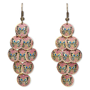 earring, enamel with antique brass-plated brass and steel, blue / pink / black, 2-3/4 inches with 12mm round and butterfly design with fishhook earwire. sold per pair.