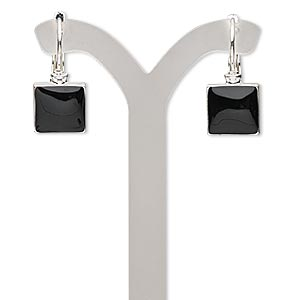 earring, epoxy with silver-finished brass and pewter (zinc-based alloy), black, 1 inch with square and leverback earwire. sold per pair.