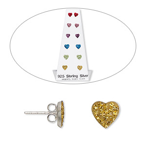 earring, ferido / sterling silver / crystal rhinestone, multicolored, 7x7mm and 8.5x8.5mm heart with post. sold per pkg of 6 pairs.