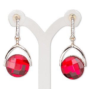 earring, glass / czech glass rhinestone / stainless steel / rose gold-finished pewter (zinc-based alloy), red and clear, 40mm with round and post. sold per pair.