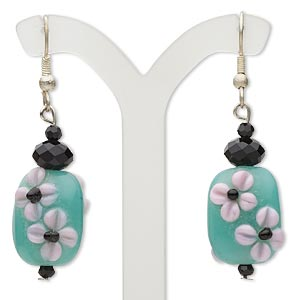 earring, glass / lampworked glass / silver-finished steel, black / pink / aqua, 2 inches with flower design and fishhook earwire. sold per pair.