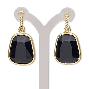 earring, glass / stainless steel / gold-finished pewter (zinc-based alloy), black, 40mm with matte trapezoid and post. sold per pair.
