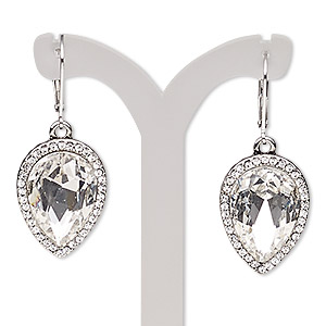 earring, glass rhinestone / glass / imitation rhodium-plated brass / pewter (zinc-based alloy), clear, 41mm with teardrop and leverback earwire. sold per pair.