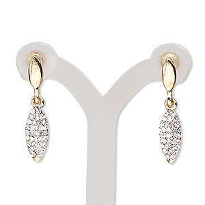 earring, glass rhinestone / stainless steel / gold-finished pewter (zinc-based alloy), clear, 30mm with marquise and post. sold per pair.