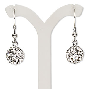 earring, glass rhinestone and stainless steel, clear, 30mm with round and fishhook earwire. sold per pair.