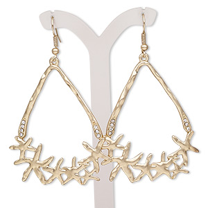 earring, glass rhinestone with gold-finished brass and pewter (zinc-based alloy), clear, 2-3/4 inches with open triangle and fishhook earwire. sold per pair.
