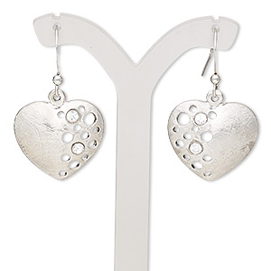 earring, glass rhinestone with imitation rhodium-finished brass and pewter (zinc-based alloy), clear, 37mm with brushed heart and circle cutout design with fishhook earwire. sold per pair.