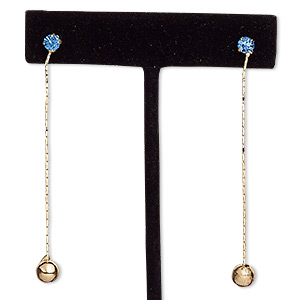 earring, glass rhinestone with rose gold-finished brass and steel, blue, 2 inches with round and post. sold per pair.