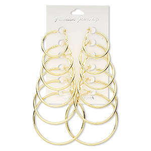 earring, gold-finished steel, 30-58mm round hoop with hinged closure. sold per pkg of 6 pairs.